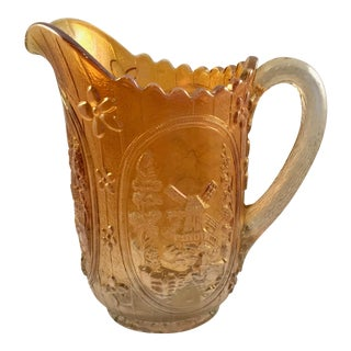 Vintage Imperial Marigold Carnival Windmill Pattern Glass Pitcher