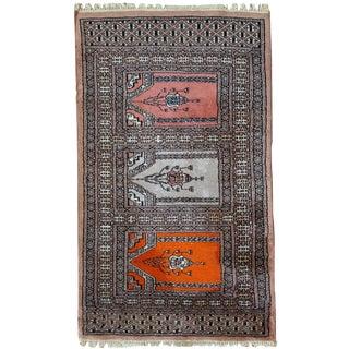 1970s handmade vintage prayer Uzbek Bukhara rug 2' x 3.4'