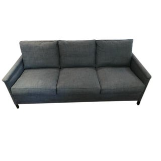 Serena & Lily Indigo Washed Linen Sofa With Brass Nailheads