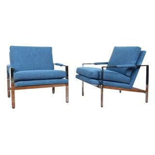 Milo Baughman Blue & Chrome Chairs - A Pair