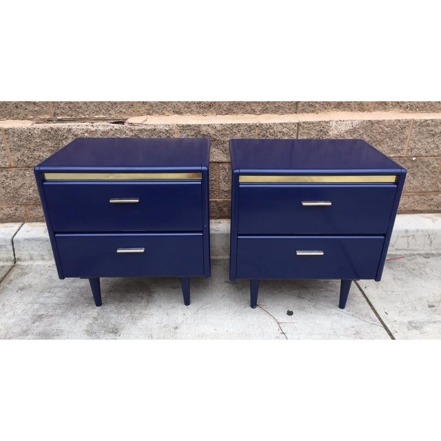 1980s Blue Brass Nightstands - A Pair - Image 2 of 3