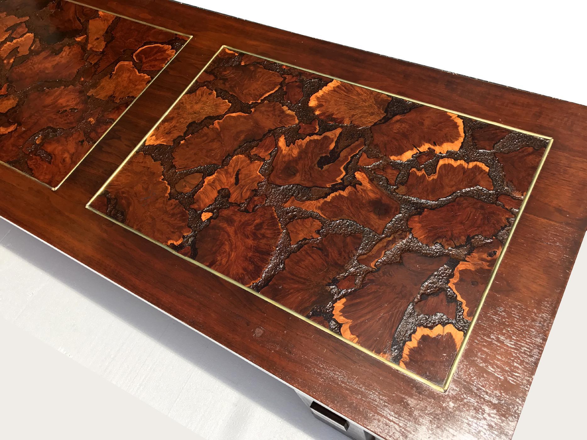 Lane Mid Century Burl Wood Coffee Table   Image 2 Of 2
