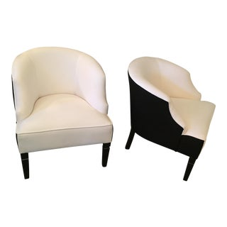 Mid-Century Modern White Barrel Chairs - A Pair