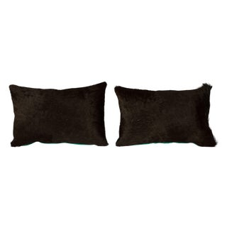 Black & Turquoise Cowhide Pillows - A Pair
