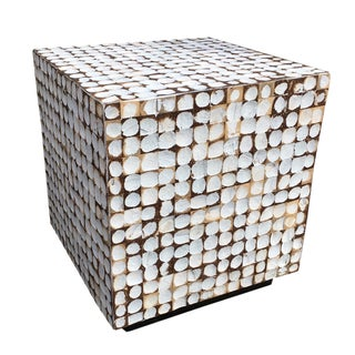 Dimpled Wooden Cube Table