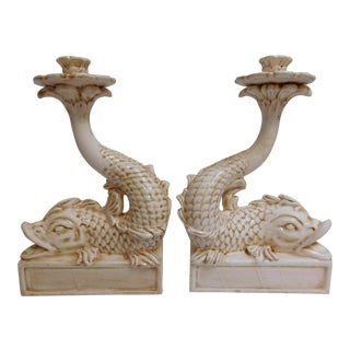 Large Asian Dolphin Candle Holders - A Pair