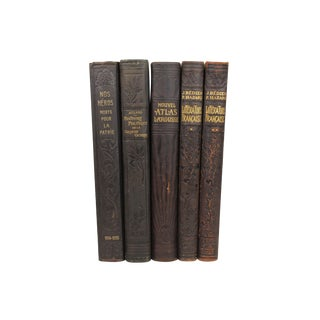 French Art Deco Leather-Bound Books - Set of 5