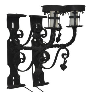 Early 20th Century Italian Wrought Iron Wall Sconces - A Pair