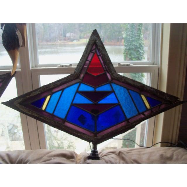 Image of Antique Leaded Art Glass Window Sconces - A Pair