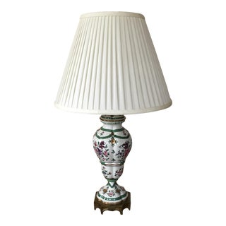 Ceramic Painted Lamp with Cream Silk Shade