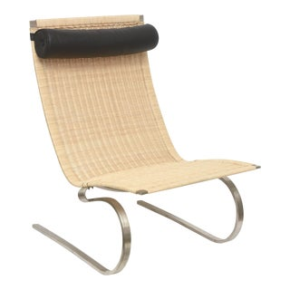 Poul Kjaerholm PK 20 Cantilever Cane, Stainless Steel and Leather Lounge Chair/Side Chair