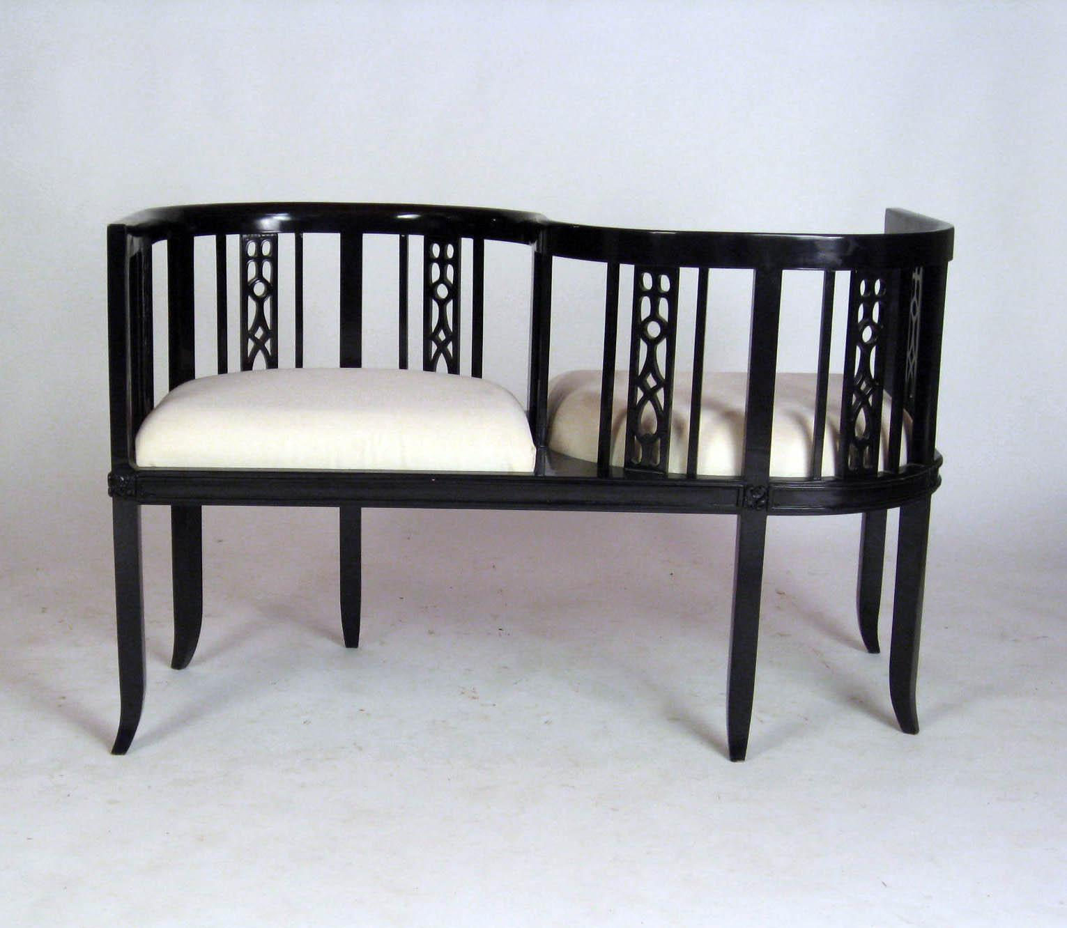 mid century asian tetatet loveseat settee in ebony lacquer image 2