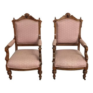 Pair of Victorian Carved Arm Chairs