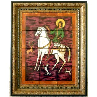 Original Tile Painting by Geza St. Galy