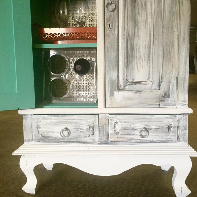 Vintage Distressed White Wine Cabinet - Image 6 of 8