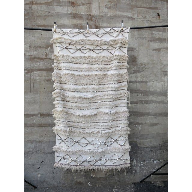 Vintage White Moroccan Wedding Blanket - Image 5 of 5