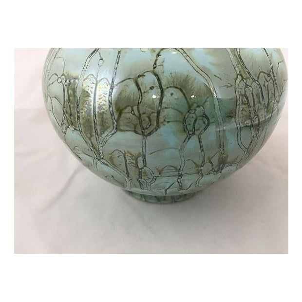 Hand Painted Turquoise Delft & Brass Vase - Image 4 of 5