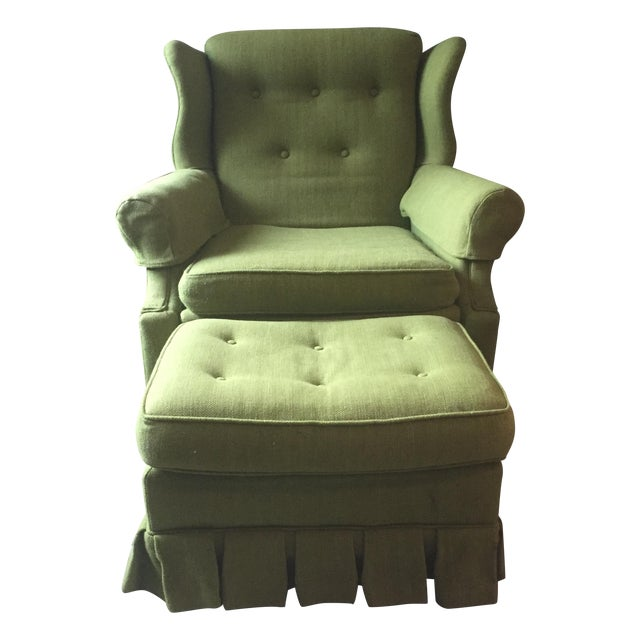 Image of Vintage Tufted Green Chair & Ottoman