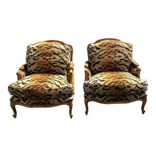 Pair of Scalamandre Tigre Silk Velvet Bergere Chairs