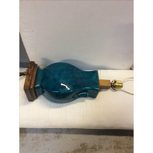 Turquoise Blue Asian Porcelain Lamp - Image 8 of 8