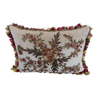 French Appliquéd Silk Velvet Pillow with Silk Tassel Fringe