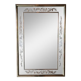 Vintage Brass Framed Rectangular Mirror