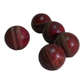 Red Leather Cricket Balls - Set of 5