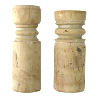 Rustic Wood Candle Holders - a Pair