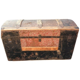 Antique Metal and Wood Trunk