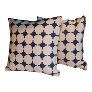 Graphic Blue & White Floral Pillows- A Pair