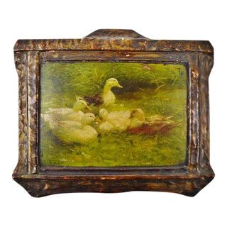 "A. Koester Antique ""Ducks on Pond"" Chromolithograph"