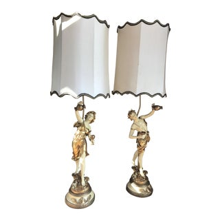 L & F Moreau Signed French Figural Table Lamps With Shades - a Pair