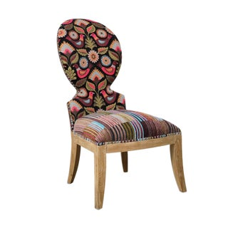 Cruzita Bird Motif Striped Slipper Chair