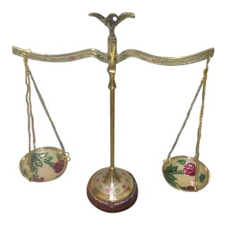 Antique Hand Painted Floral Brass Balance Scale