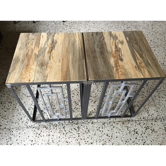 Mid-Century Steel and Old Growth Wood Tables - 2 - Image 2 of 4