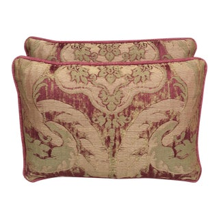 Antique Pink And Red Textile Pillows - Pair