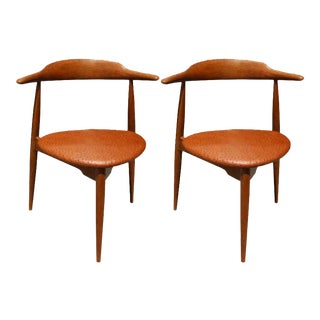 Hans Wegner Danish Mid-Century Heart Chairs - A Pair