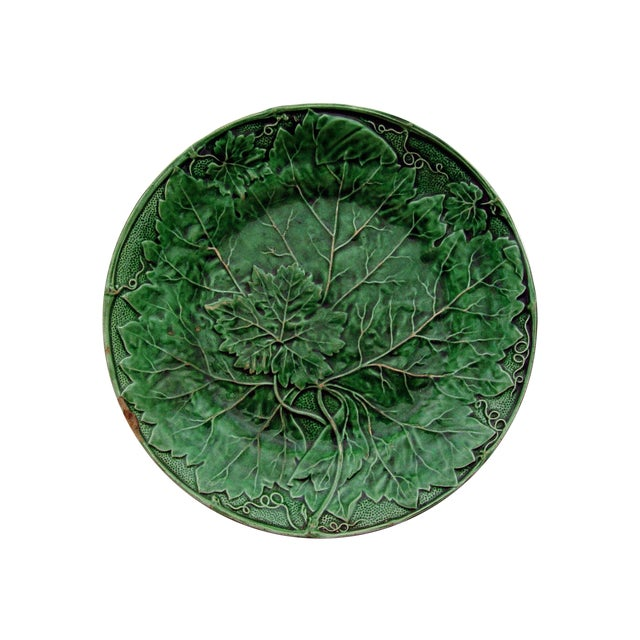 Antique English Majolica Plate With Grape Leaf - Image 1 of 4