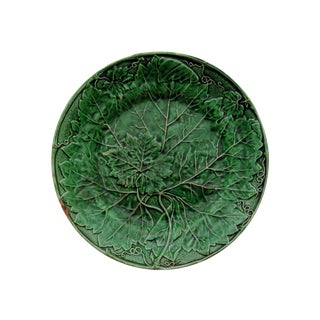 Antique English Majolica Plate With Grape Leaf
