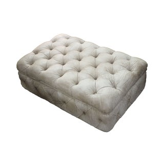 Distressed Genuine Leather Ottoman