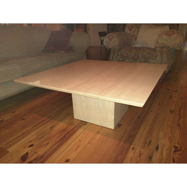 Image of Buff/Parchment Colored Marble Coffee Table