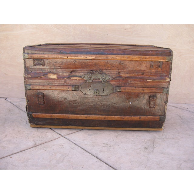 Antique Rustic Embossed Leather & Wood Trunk - Image 2 of 9