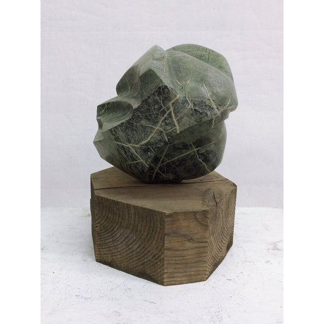 Large Abstract Marble Sculpture on Rough Wood Base - Image 5 of 5