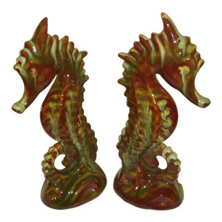 Vintage Ceramic Seahorse Art Sculptures - A Pair