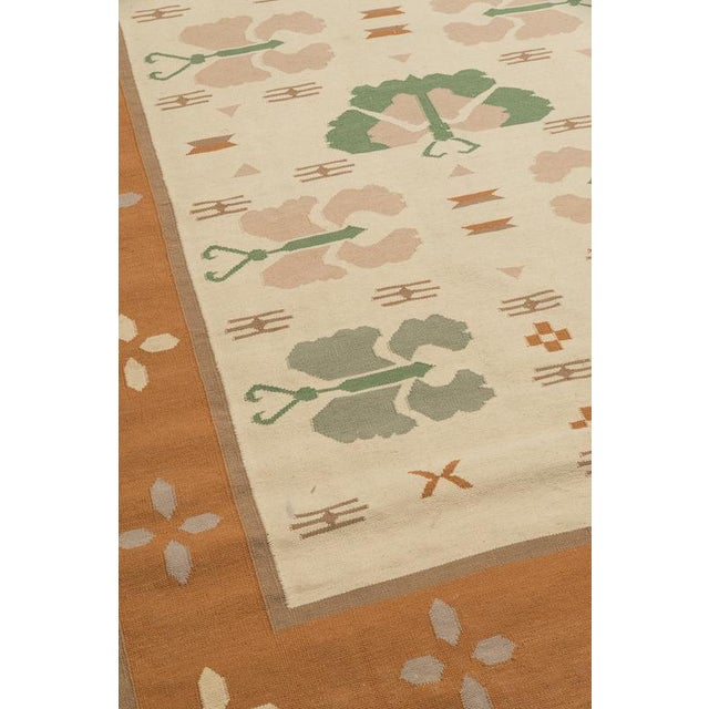 Butterfly Dhurrie Handoven Wool Rug - 5′7″ × 8′5″ - Image 3 of 6