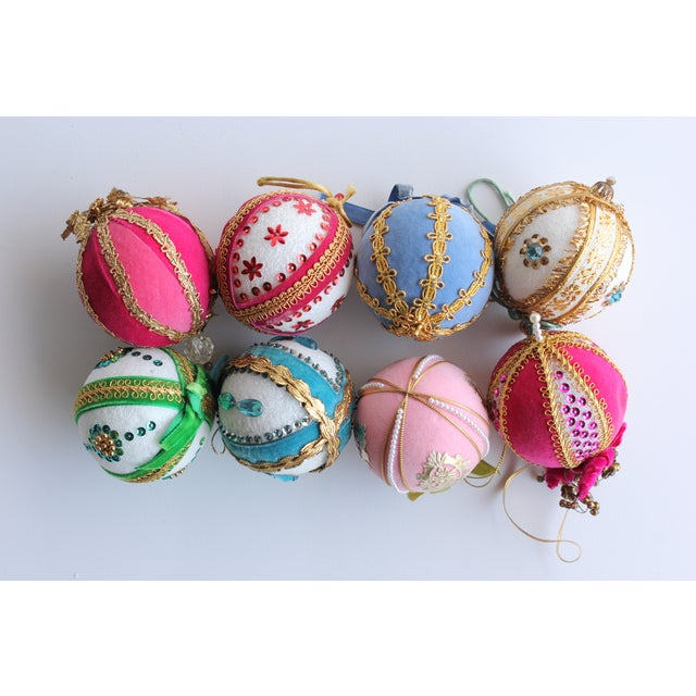 Vintage Hand-Beaded Christmas Ornaments - Set of 8 - Image 2 of 5