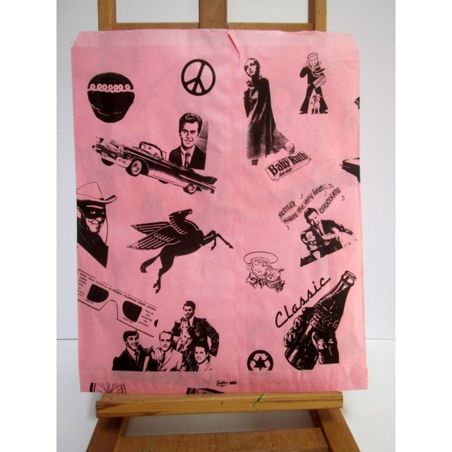 Vintage Pink Graphic Paper Bags - Set of 10 - Image 6 of 6