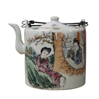 Chinese Couple Porcelain Decorative Teapot