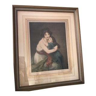 19th Century Vintage Mother Daughter Muted Pastel Print