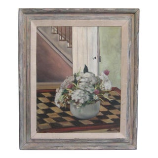 """Flowers on a Checkered Table"" Still Life Painting"